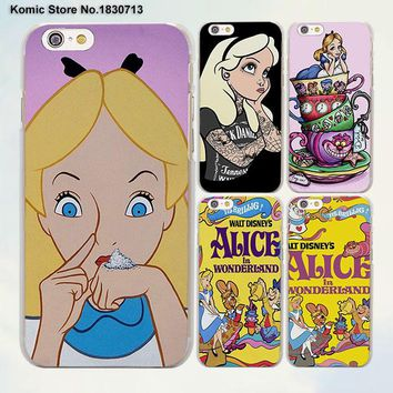 Princess Alice in Wonderland design transparent clear Cases Cover for Apple iPhone 6 6s Plus 7 7Plus SE 5 5s 4s 5c