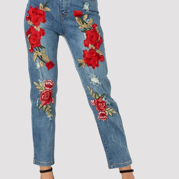 Smell The Roses Mom Jeans