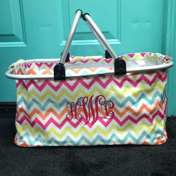 Multi color chevron print market tote with custom monogramming