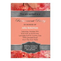 Coral Floral Sparkle Retirement Party Invitations
