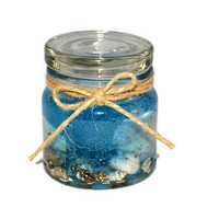 Ocean Mist Scented Candle in Glass Jar, Gel Wax Candle