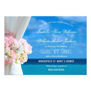 Elegant Floral Beach Summer Wedding Celebration Card