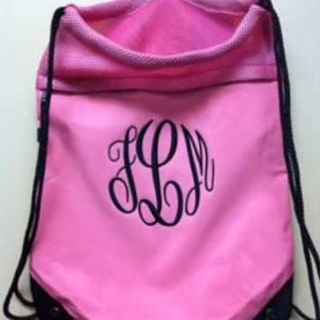 Monogrammed Backpack Cinch Pack with Mesh Trim perfect for sports, cheerleaders, gymnasts, pool, or beach