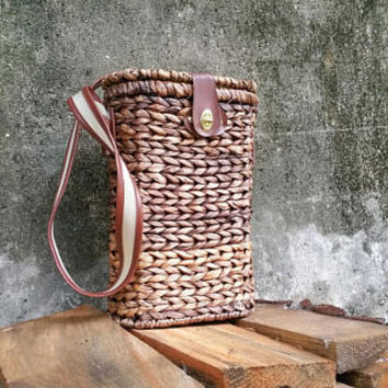 Wicker Two Bottle Wine Tote Insulated Wine Carrier