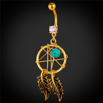 Body Jewelry Native American Style Dream Catcher Belly Button Ring Women Gold Color |CZ Navel Piercing Nombril DB2086