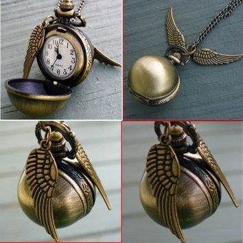 Harry Potter Quidditch Snitch Steampunk Clock Necklace Pendant