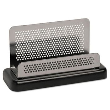 Eldon Office Products Distinctions Business Card Holder, Capacity 50 2 1/4 x 4 Cards, Metal/Black