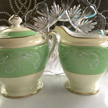 1920's Antique Noritake Sugar and Creamer Set, Mint Green Wedding Gift, Vintage Kitchen, Shabby Chic China, High Tea