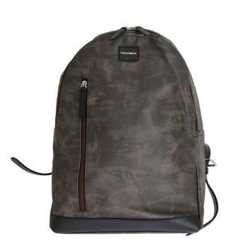 Dolce & Gabbana Green Camouflage Canvas Cotton Leather Backpack