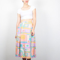 Vintage 80s Skirt Pastel Midi Skirt Novelty Horoscope Print Skirt 1980s New Wave Astrology Sign Print Skirt Boho Sun Star L Extra Large XL