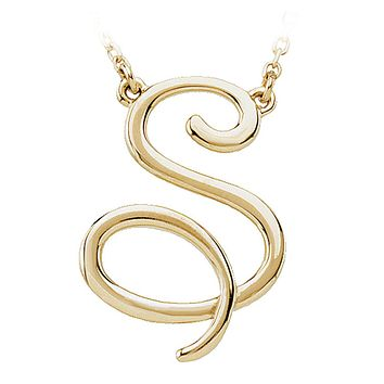 Script initial Necklace in 14k Yellow Gold, Letter S