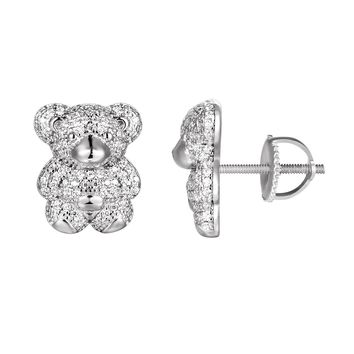 Sterling Silver Iced Out Teddy Bear Screw Back Earrings