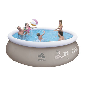 """15' x 48"""" Gray and White Inflatable Above Ground Prompt Swimming Pool Set"""