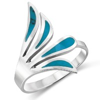 925 Sterling Silver Large Turquoise Inlay Feathery Wing Wave Ring