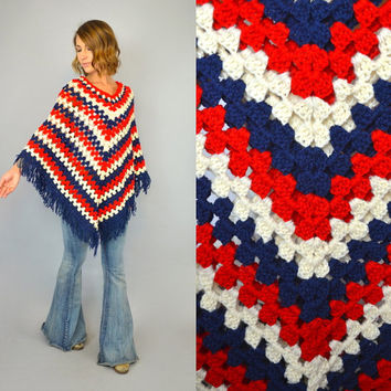 AMERICANA vtg 70s bohemian hippie open CROCHET KNIT red white blue sweater poncho, one size fits most