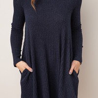 Ribbed Knit Stretch Long Sleeves Trapeze Dress