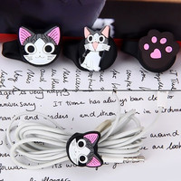 3pcs Cute Cat Shape 3D Cartoon Style Cord Ties Headphone Cable Management = 1842787780