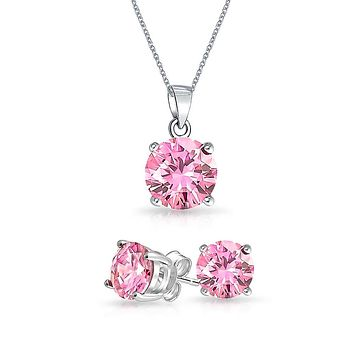 2CT Solitaire Pendant Stud Earring Set Sterling Birthstone Colors