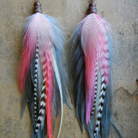 SALE: 20 Percent OFF the ENTIRE shop - Forget Me Not Long Feather Earrings