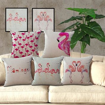 1x Cushion Cover Pillow Furnishings Home Pink Flamingo Tropical Decor Cute 435x435mm