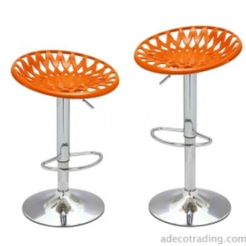 Adeco Height Adjustable Counter Bar Tractor Seat Stools, Set of 2, Orange - CH0141-3