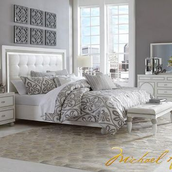 Sky Tower 7 Pc. Queen Bedroom by Michael Amini - Queen Bedroom Sets - Bedroom - mobile - theroomplace - Product Groups
