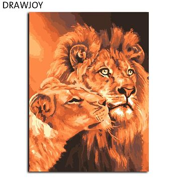 Frameless Lion Kings DIY Oil Painting By Numbers Kits Drawing Paint On Canvas Wall Art Picture For living Room GX7279 40*50cm