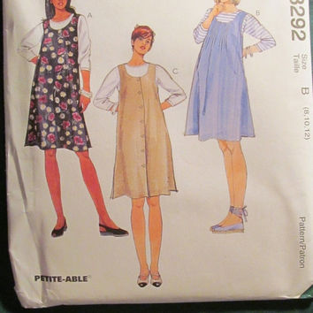 SALE Uncut 1996 McCall's Sewing Pattern, 8292! Small/Medium/Large/Women's/Misses/Maternity Jumpers/Tops/Shirts/Blouses/Dresses/Short Sleee