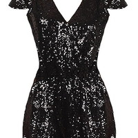 Sparkle Box Romper | Black Sequin Cap Sleeve Onesuit Playsuit | RicketyRack.com