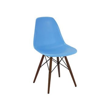 Trige Blue Side Chair with Walnut Wood Base (Set of 2)