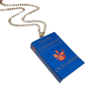 Outlander Necklace, Diana Gabaldon Jewelry, Miniature Book Necklace, Sassenach, Claire and Jamie Fraser, Outlander Jewelry