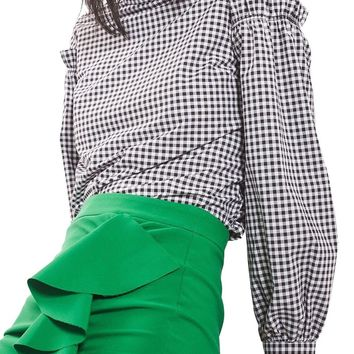 Topshop Gingham Mutton Sleeve Top (Regular & Petite) | Nordstrom