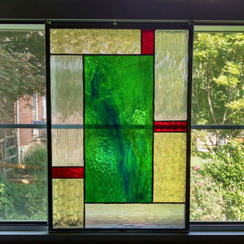 Green Swirl Geometric Stained Glass Panel - Stained Glass Window - Privacy Screen - Geometric Art - Green Red Yellow - Modern Decor