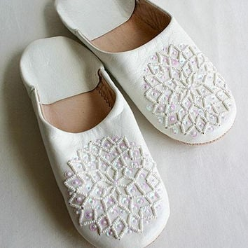 White Babouche Slippers - Les Etoile Style-perfect for birthday gifts for her, for homewear, loungewear
