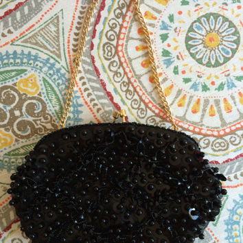 Vintage 1960's Black Beaded Evening Clutch Bag With Handle