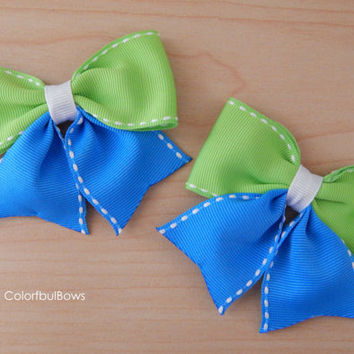 Blue Green Hair Bows for Girls / School Hair Bows / Hairbows / Gift Ideas / Christmas Stockings / Toddler Hair Clips