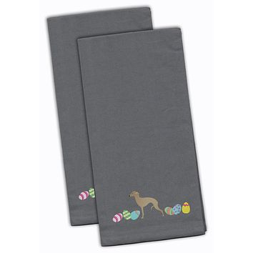 Italian Greyhound Easter Gray Embroidered Kitchen Towel Set of 2 CK1655GYTWE