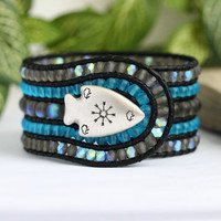 Aqua and Grey Beaded Leather Cuff, 5 Row, Wrap Bracelet, Black, Blue, Handmade, Leather Jewelry, Arrow Head, Beaded Leather Bracelet