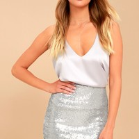 Love Me Now Matte Silver Sequin Bodycon Mini Skirt