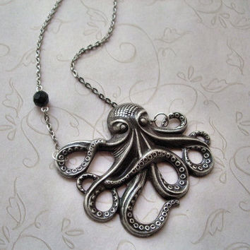 Silver Octopus Necklace / Steampunk Jewelry / Black Onyx Gemstone / Antiqued Silver Necklace