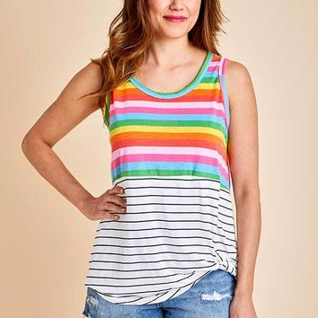 Bibi Rainbow Multi Stripe Tank