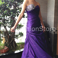 2013 High Quality Mermaid Sweetheart Neckline Beading Floor Length Sexy Purple Formal Dress