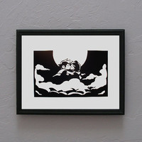 Scott Pilgrim and Ramona Flowers kissing in the clouds   Hand cut black silhouette papercut