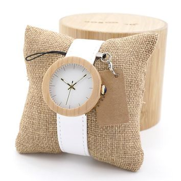White Leather Gold Wood Quartz Watch for Women