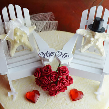 Valentine's Day Wedding Cake Topper ~ Adirondack Chairs ~ Knobby Starfish Bride and Groom ~ Beach Wedding ~ Cake Topper ~ I Do ~ Cake Topper