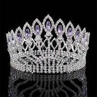 Cool Luxurious Sparkling Crystal Baroque Queen King Wedding Tiara Crown Pageant Prom Diadem Headpiece Bridal Hair Jewelry accessoriesAT_93_12