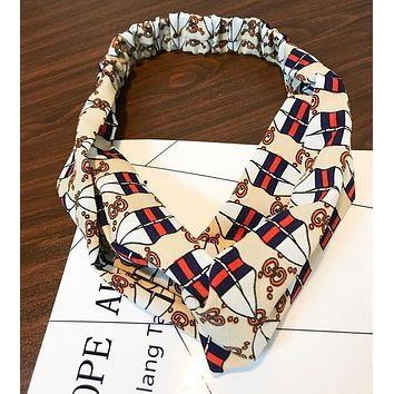 GUCCI Fashion Sport Wide Rhombic Letters Print Headband Cross Hair Band Accessories Beige(Blue Red Stripe) I12189-1