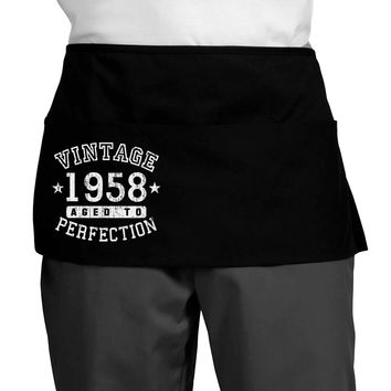 60th Birthday Vintage Birth Year 1958 Dark Adult Mini Waist Apron by