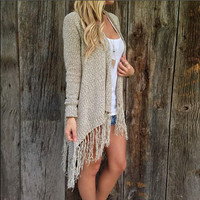 Long-sleeved  tassel knit cardigan