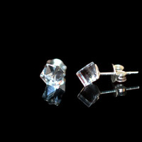 Swarovski Silver Studs 4mm - Sterling Silver Stud Earrings with Clear Color Swarovski Crystal Cube 4 x 4 mm